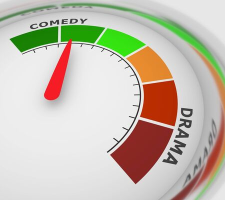 Drama and Comedy genres. Level scale with arrow. The measuring device icon. Sign tachometer, speedometer, indicators. Infographic gauge element. 3D rendering.