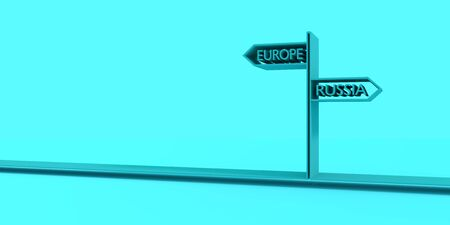 Road signs with Europe and Russia text pointing in opposite directions. Image relative to politic situation between Europe and Russia. 3D rendering.
