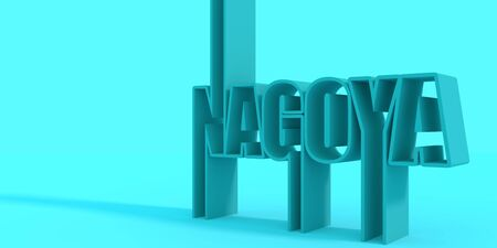 Image relative to Japan travel theme. Nagoya city name in geometry style design. Creative typography poster concept. 3D rendering. Stockfoto