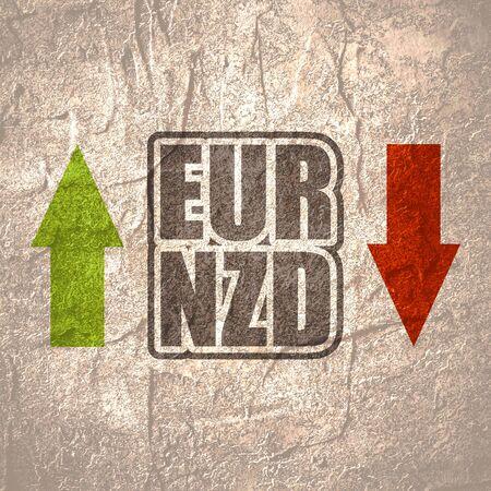 Financial market concept. Currency pair. Acronym EUR - European Union currency. Acronym NZD- New Zealand Dollar.