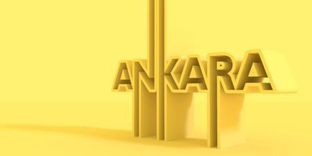 Image relative to Turkey travel theme. Ankara city name in geometry style design. Creative vintage typography poster concept. 3D rendering.