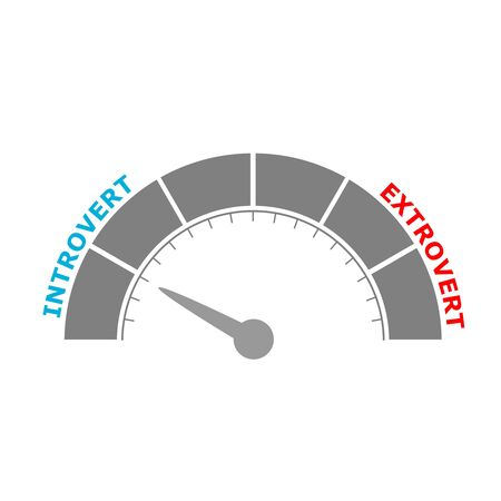 Extrovert vs introvert illustration. Image relative to human psychology. Level scale with arrow. The measuring device icon. Sign tachometer, speedometer, indicators. Infographic gauge element.