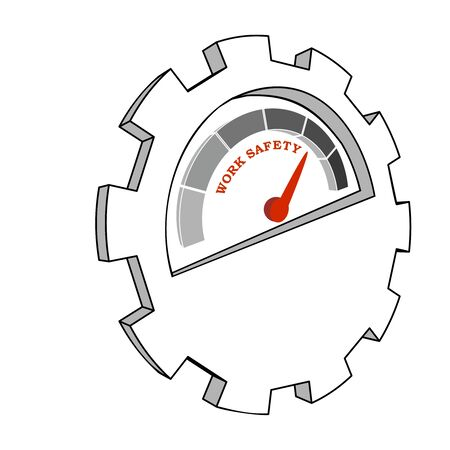 Work safety level scale with arrow. The measuring device icon. Sign tachometer, speedometer, indicators. Illustration in isometric style. Infographic gauge element.