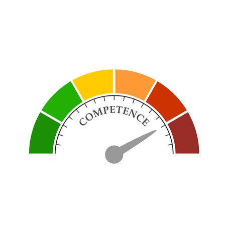 Competence level scale with arrow. The measuring device icon. Sign tachometer, speedometer, indicators. Infographic gauge element.