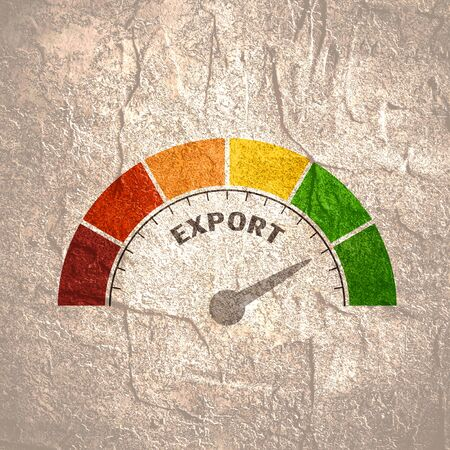 Export level scale with arrow. The measuring device icon. Sign tachometer, speedometer, indicators. Infographic gauge element.