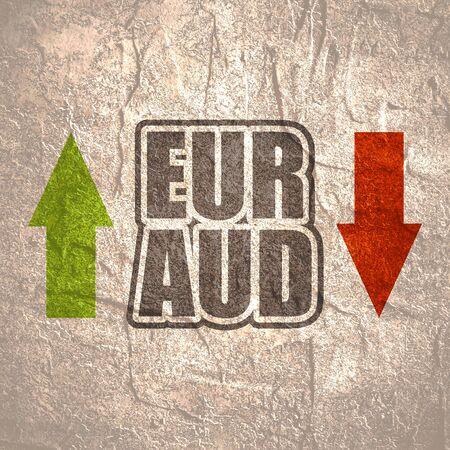 Financial market concept. Currency pair. Acronym EUR - European Union currency. Acronym AUD- Australian Dollar. 版權商用圖片