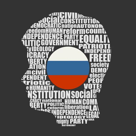 Head of man filled by word cloud. Words related to politics, government, parliamentary democracy and political life. Flag of the Russia