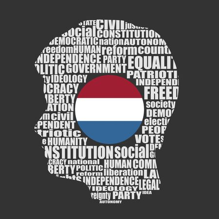 Head of man filled by word cloud. Words related to politics, government, parliamentary democracy and political life. Flag of the Netherlands
