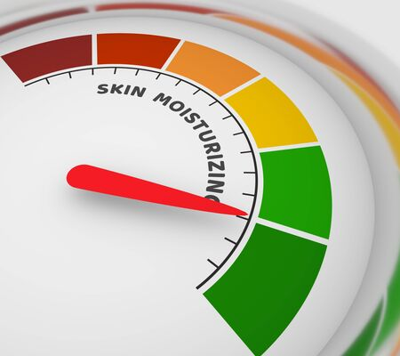 Abstract meter read level of skin moisturizing result. Color scale with arrow. The measuring device icon. Colorful infographic gauge element. 3D rendering