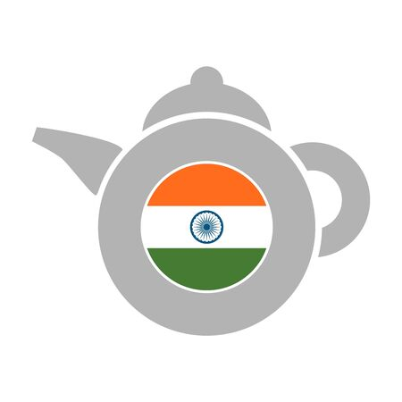 Tea emblem template and design element for tea shop, restauran. Teapot abstract illustration. Flag of the India