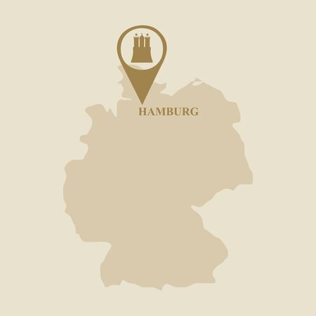 Travel template. Hamburg city coat of arms element in location pointer. Map of Germany Illustration