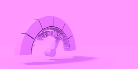 Indicator with arrow. The measuring device icon. Feminism word. 3D rendering Imagens