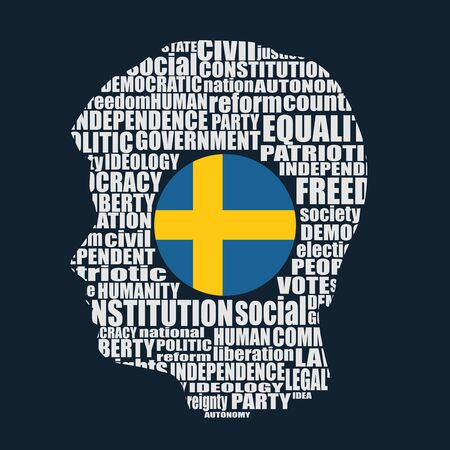 Head of man filled by word cloud. Words related to politics, government, parliamentary democracy and political life. Flag of the Sweden