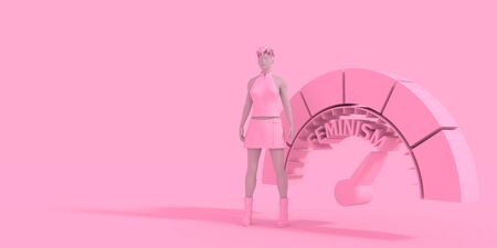 Indicator with arrow. Woman stay near measuring device. Feminism word. 3D rendering