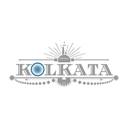 Image relative to India industry. Kolkata city name with flag colors styled letter O. Urban industrial cluster. Vintage elements
