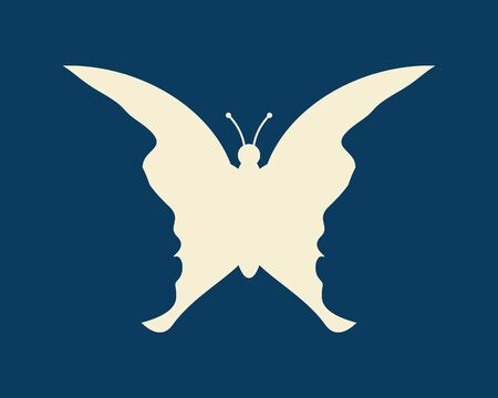 A butterfly or two face profile view. Optical illusion. Human head make silhouette of insect. Prehistoric man
