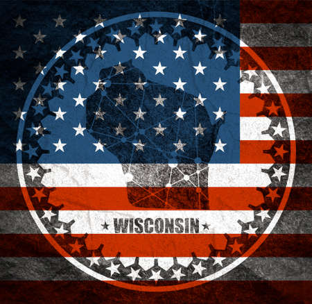 Image relative to USA travel. Wisconsin state map textured by lines and dots pattern. Stamp in the shape of a circle. Flag of the USA Reklamní fotografie - 157127113