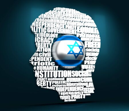 Head of man filled by word cloud. Words related to politics, government, parliamentary democracy and political life. Flag of the Israel. 3D rendering