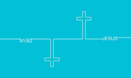 Jesus vs Devil. Confrontation of well and evil. Cross and text. Thin line style