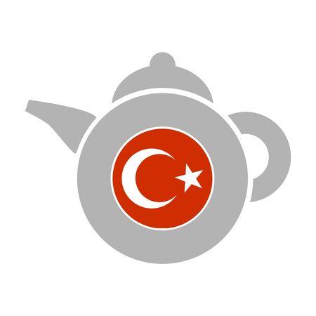 Tea emblem template and design element for tea shop, restauran. Teapot abstract illustration. Flag of the Turkey Standard-Bild
