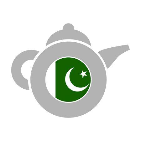 Tea emblem template and design element for tea shop, restauran. Teapot abstract illustration. Flag of the Pakistan