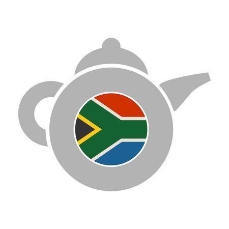 Tea emblem template and design element for tea shop, restauran. Teapot abstract illustration. Flag of the South Africa