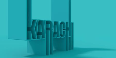 Karachi city name in geometry style design. Creative vintage typography poster concept.