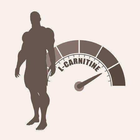 Gradient scale. L- Carnitine level measuring device icon.