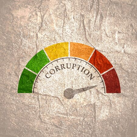 Corruption level meter indicating maximum. Color scale with arrow from green to red. Sign tachometer, speedometer, indicators. Colorful infographic gauge element. Stock Photo