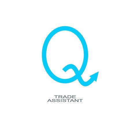 Q letter. Exchange broker emblem. Rise up arrow Фото со стока