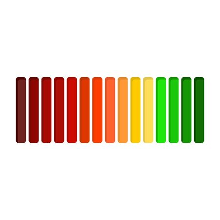 Color scale from red to green. The measuring device icon. Sign of indicator. Colorful infographic gauge element. Loading or progress bar