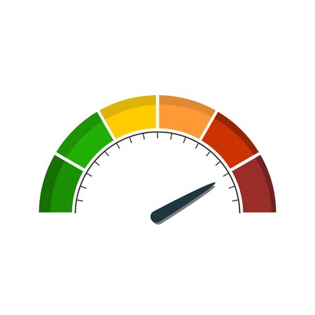 Color scale with arrow from green to red. The measuring device icon. Sign tachometer, speedometer, indicators. Colorful infographic gauge element Иллюстрация