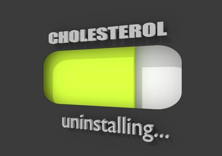 Cholesterol meter. The measuring device icon. Infographic element. Progress or loading bar. 3D rendering