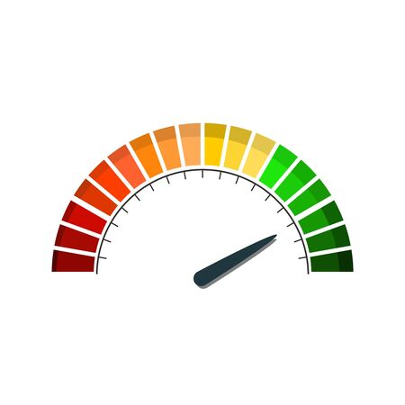Color scale with arrow from red to green. The measuring device icon. Sign tachometer, speedometer, indicators. Colorful infographic gauge element