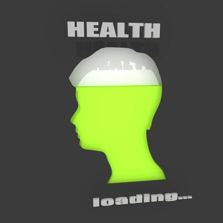 The health level measuring device indicator. Head of man silhouette. 3D rendering Imagens
