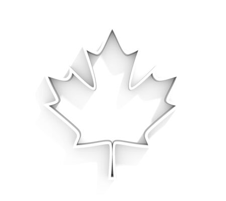 Canada national flag element background. Outline maple leaf icon. 3D rendering Imagens
