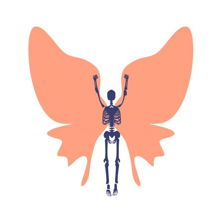 Human skeleton posing with wings of butterfly Ilustração