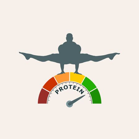 Gradient scale. Protein level measuring device icon. Sign tachometer, speedometer, indicators. Infographic gauge element. Silhouette of muscular man