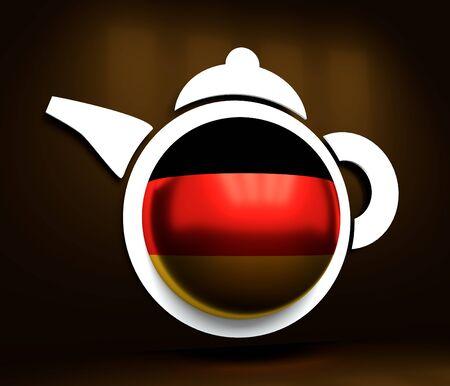 Tea emblem template and design element for tea shop, restauran. Teapot abstract illustration. Flag of the Germany. 3D rendering