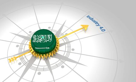 Industry four point zero. 3D rendering. Abstract compass points to the word. Flag of the Saudi Arabia