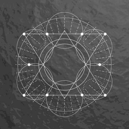 Mystical geometry symbol. Linear alchemy, occult, philosophical sign. For music album cover, poster, sacramental design. Astrology and religion concept. Stone material background