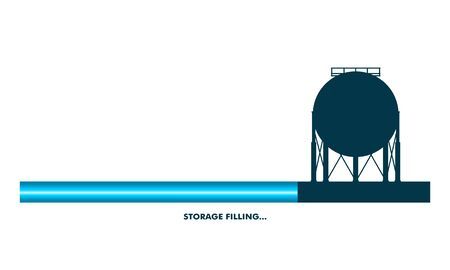 Energy and Power icon. Energy generation and heavy industry. Gas storage tank. Progress or loading bar