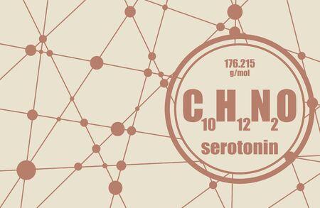 Chemical formula of hormone serotonin. Infographics illustration.