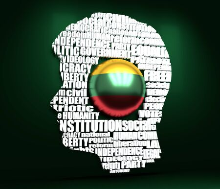 Head of man filled by word cloud. Words related to politics, government, parliamentary democracy and political life. Flag of the Lithuania. 3D rendering