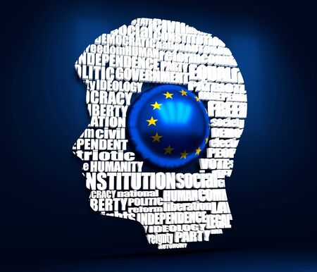 Head of man filled by word cloud. Words related to politics, government, parliamentary democracy and political life. Flag of the European Union. 3D rendering