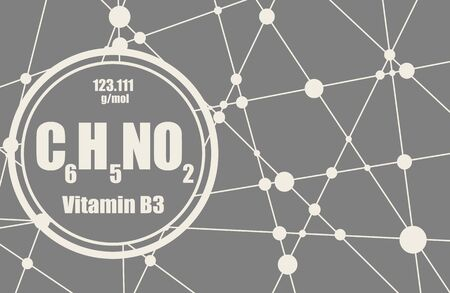 Chemical formula of niacin. Nicotinic acid or vitamin b3. Connected lines with dots background. 向量圖像