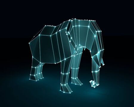 Beautiful elephant. Abstract geometric polygon style illustration. 3D rendering