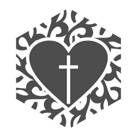 Mosaic arabic ornament. Hexagon emblem with heart icon. Religion concept Vectores