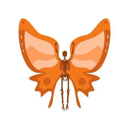 Human skeleton posing with wings of butterfly Ilustracja