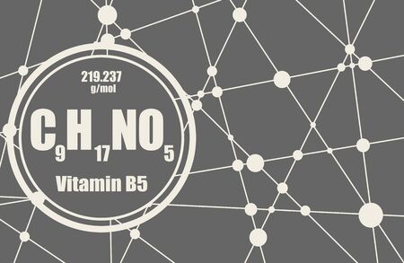 Pantothenic acid or vitamin B5 chemical formula. Connected lines with dots background.
